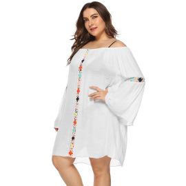 Plus Size Off-shoulder Beach Dress NSOY26807