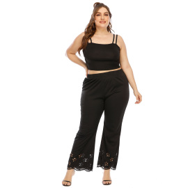 Large Size Hollow Burnt Flowers Micro-flare Pants NSOY26827