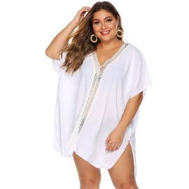 Plus Size Lace Stitching Split Beach Dress  NSOY26834