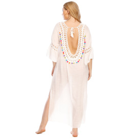 Plus Size Open Back Split Beach Dress  NSOY26847