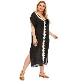 Plus Size Hook Stitching Beach Dress NSOY26856