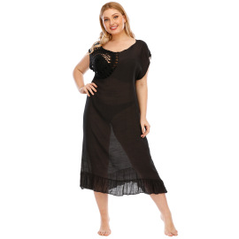 Plus Size Hollow Flower Stitching Beach Dress  NSOY26860