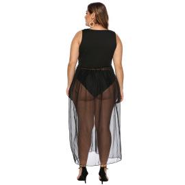 Plus Size Lips Printed Mesh Stitching Dress  NSOY26867