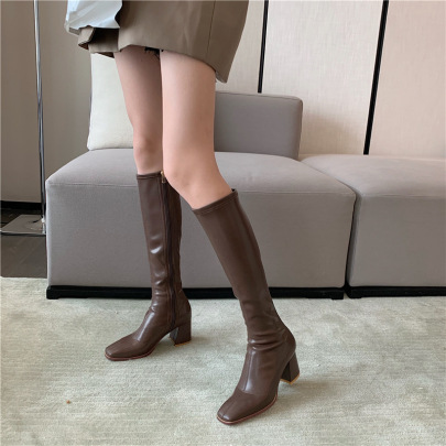 Simple Soft Leather Mid-heel Knight Boots NSHU26923
