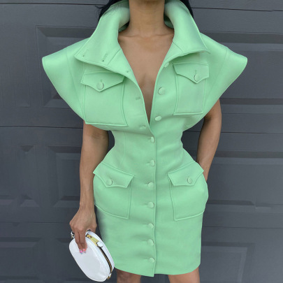 Solid Color Stand Collar Cotton Dress Nihaostyles Clothing Wholesale NSRUI82894