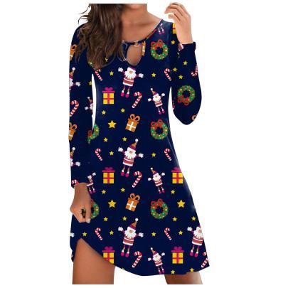 Santa Print Long-sleeved Dress Nihaostyles Wholesale Christmas Costumes NSLZ82899