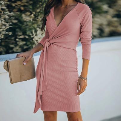 V-neck Belt Long-sleeved Dress Nihaostyles Clothing Wholesale NSLZ82900