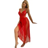 Lace One-piece Lingerie Mesh Long Skirt Two-piece Set Nihaostyles Clothing Wholesale NSFCY82918
