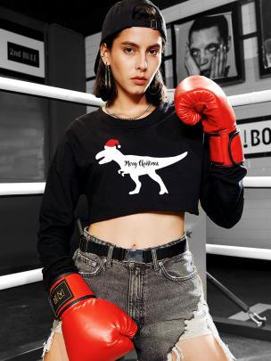 Casual Round Neck Dinosaur Print Exposed Navel Short Sweatershirt Nihaostyles Wholesale Christmas Costumes NSSN82922
