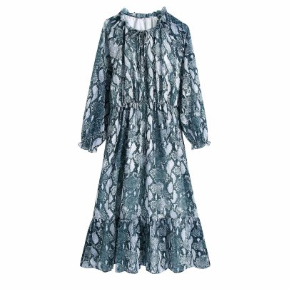 Autumn Round Collar Lace-up Snakeskin Print Dress Nihaostyles Wholesale Clothing NSAM82955