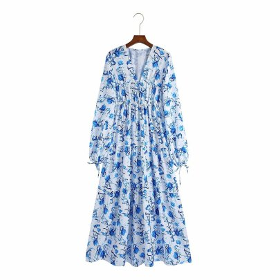 Autumn V-neck Floral Print Long-sleeved Dress Nihaostyles Wholesale Clothing NSAM82959