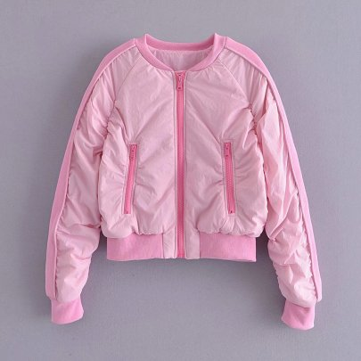 Pink Bomber Bread Jacket With Zipper Nihaostyles Wholesale Clothing NSAM82962