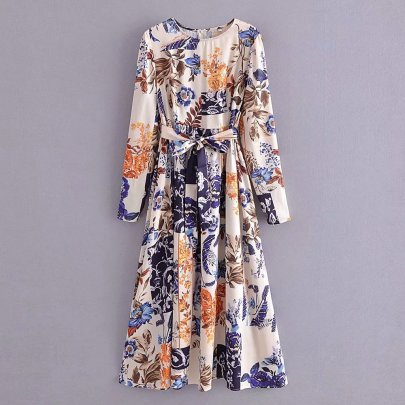 Autumn Satin Round Neck Floral Print Lace-up Long Dress Nihaostyles Wholesale Clothing NSAM82970