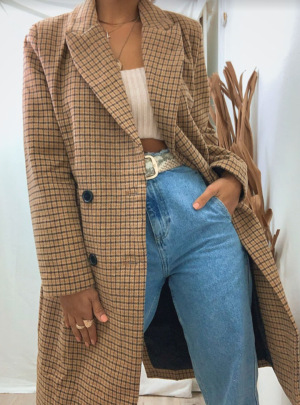 Autumn Brown Plaid Double-breasted Overcoat Nihaostyles Wholesale Clothing NSAM82984