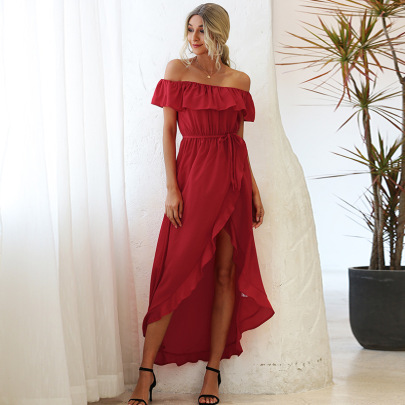Solid Color Printing Off-shoulder Dress Nihaostyles Clothing Wholesale NSGNX83009