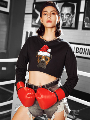 Casual Round Neck Dog Print Exposed Navel Short Sweatershirt Nihaostyles Wholesale Christmas Costumes NSSN83035