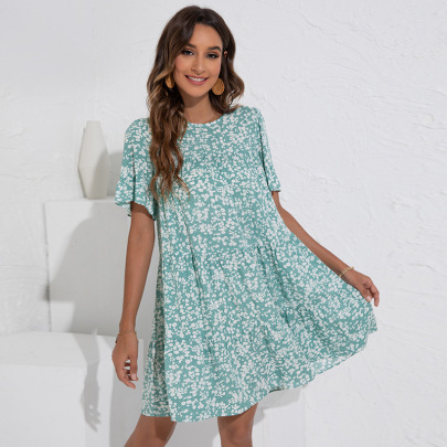Round Neck Floral Lotus Leaf Sleeve Loose Dress Nihaostyles Clothing Wholesale NSGNX83050