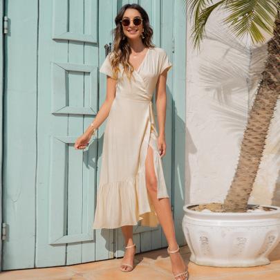 V-neck Tie Irregular Slim Dress Nihaostyles Clothing Wholesale NSGNX83051