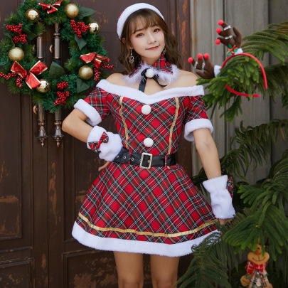 Red Plaid Tube Top Belted Dress Nihaostyles Wholesale Christmas Costumes NSPIS83068