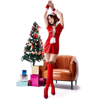 V-neck Bandage Short Dress With Socks Nihaostyles Wholesale Christmas Costumes NSPIS83069