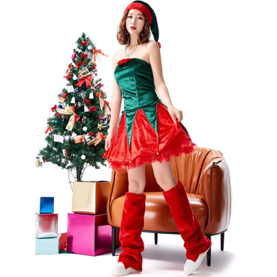 Christmas Cosplay Red And Green Plush Elf Dress Suit Nihaostyles Wholesale Christmas Costumes NSPIS83071