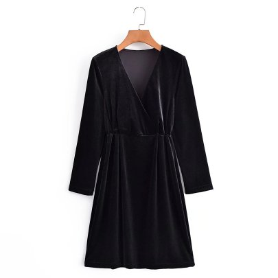 Solid Color Sexy Deep V-neck Slim Long-sleeved Dress Nihaostyles Wholesale Clothing  NSAM83080