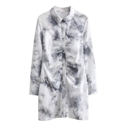 Folded Tie-dye Knitted Shirt Dress Nihaostyles Wholesale Clothing NSAM83081