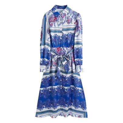 Autumn Positioning Floral Print Shirt Dress Nihaostyles Wholesale Clothing NSAM83082