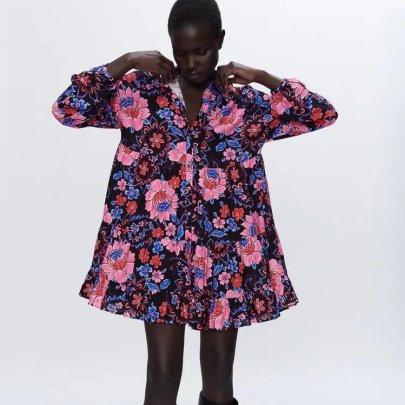 Floralr Print Lapel Pleated Dress Nihaostyles Wholesale Clothing NSAM83083