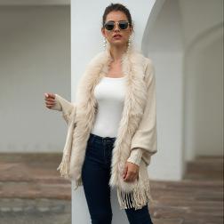 fur collar fringed cloak shawl cardigan nihaostyles wholesale clothing NSMMY83092