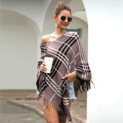 V-neck fringed plaid striped diagonal shawl cloak sweater nihaostyles wholesale clothing NSMMY83109