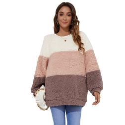 Loose Contrasting Thickening Plush Sweatshirt Nihaostyles Clothing Wholesale NSGNX83117
