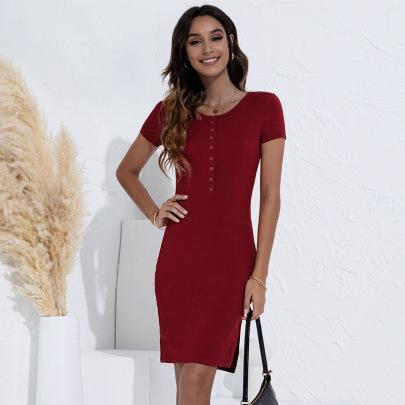 Round Neck Knitted Slit Slim Dress Nihaostyles Clothing Wholesale NSGNX83119