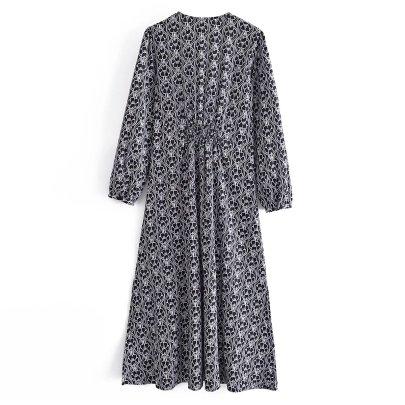 V-neck Print Long-sleeved Split Dress Nihaostyles Wholesale Clothing NSAM83134