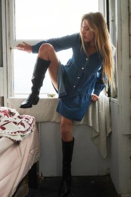 V Neck Layered Stitching Single-breasted Denim Dress Nihaostyles Wholesale Clothing NSAM83135