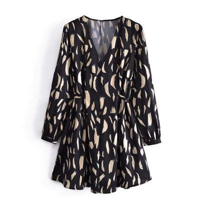 Women's Print V-neck Waistband Dress Nihaostyles Wholesale Clothing NSAM83137