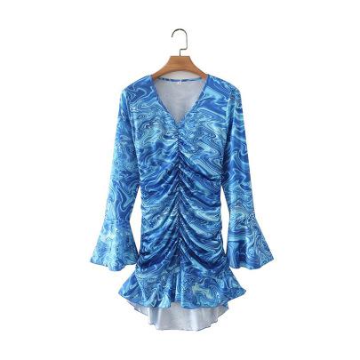 Blue V-neck Pleated Dress Nihaostyles Wholesale Clothing NSAM83141