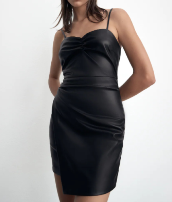 Autumn Artificial Leather Tube Top Sling Black Dress Nihaostyles Wholesale Clothing NSAM82963