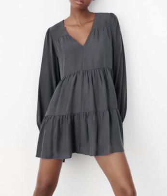 Women's V Neck Layered Stitching Mini Dress Nihaostyles Wholesale Clothing NSAM83076