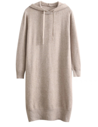 Knitted Hooded Drawstring Dress Nihaostyles Wholesale Clothing NSAM83130