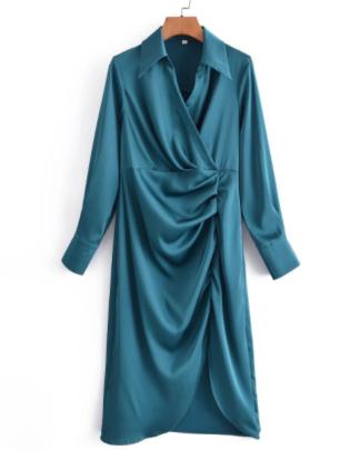 Lapel Silk Satin Folded Split Shirt Dress Nihaostyles Wholesale Clothing NSAM83144