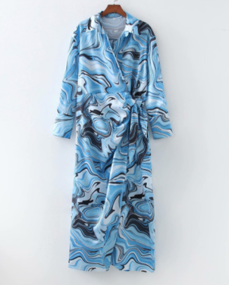 Autumn Wrapped Print Belted Shirt Dress Nihaostyles Wholesale Clothing NSAM82988