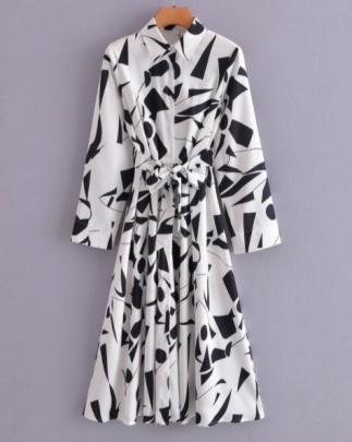 Black Pattern Long Lace-up Shirt Dress Nihaostyles Wholesale Clothing NSAM83085