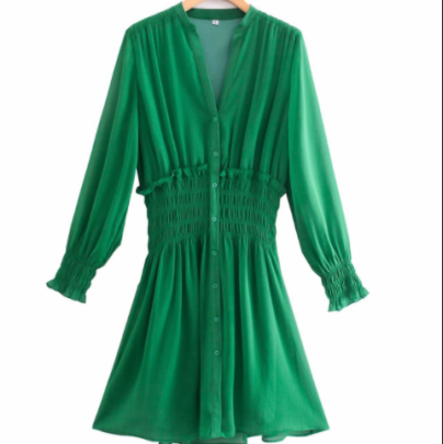 Women's Green Chiffon V-neck Pleated With Button Dress Nihaostyles Wholesale Clothing NSAM82951