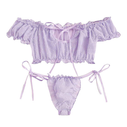 Wrapped Chest Ruffled Mesh Bra And G-string Two-piece Lingerie Set Nihaostyles Clothing Wholesale NSFCY83325