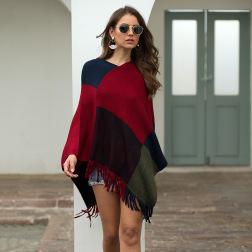 tassel color matching shawl cloak nihaostyles clothing wholesale NSMMY83354