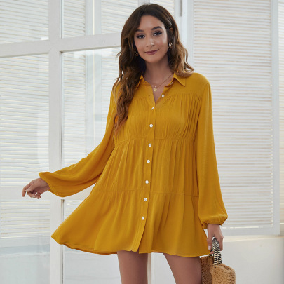 Lapel Single-breasted Cotton And Linen Shirt Dress Nihaostyles Clothing Wholesale NSGNX83357