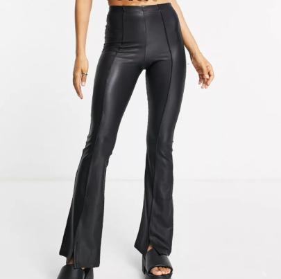 Autumn Elastic Slim Flared Leather Pants Nihaostyles Wholesale Clothing NSAM83444