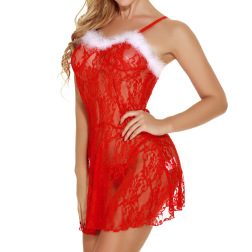Christmas Lace Hollow Embroidery Suspender Dress Nihaostyles Wholesale Christmas Costumes NSFCY83300