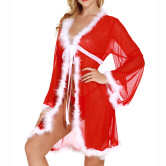 Christmas Mesh Long-sleeved Nightgown Nihaostyles Wholesale Christmas Costumes NSFCY83297
